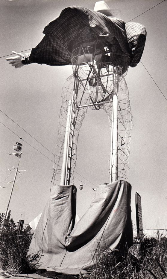 Oct. 23, 1979: There are bad days, and then there's the kind of day Big Tex had. After the 1979 State Fair of Texas ended, he faced the prospect of spending another 11 months boxed up in storage. Workmen dropped his pants and then took a break, leaving him there with his legs poking out of his boots, fair game for a passing photographer.