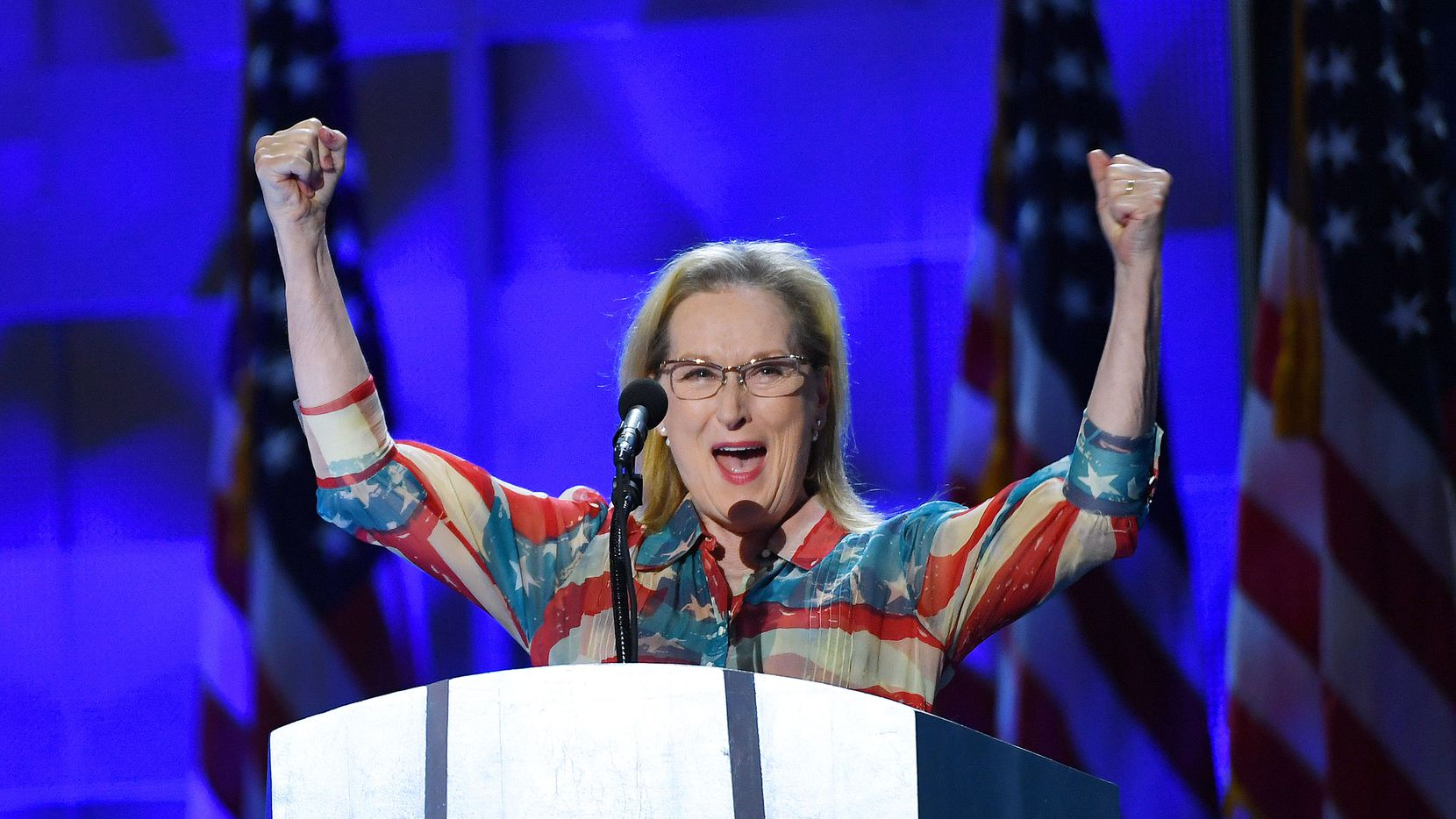 Meryl Streep speaks during the second day of the Democratic National Convention.