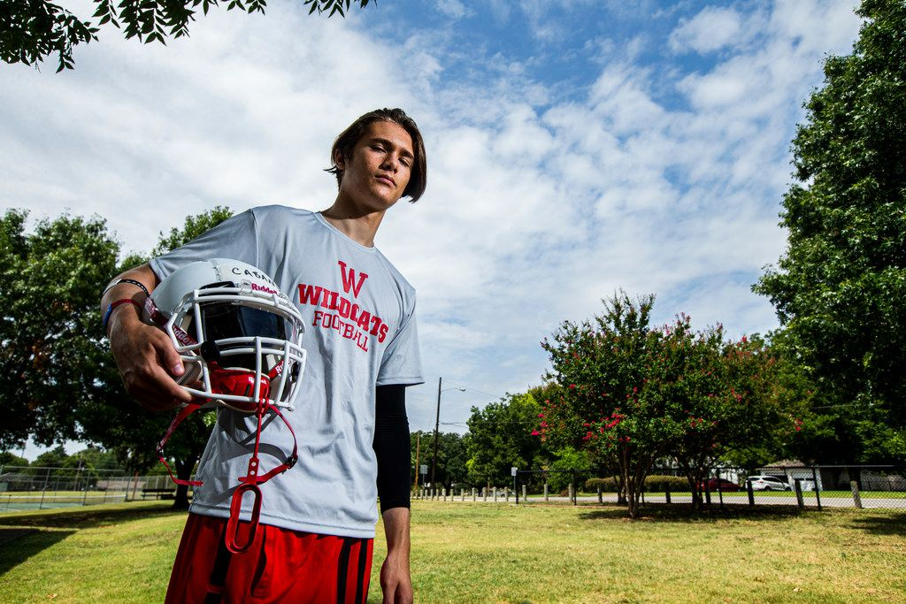 Incoming Woodrow Wilson freshman Nainoa Cabang, who will be playing tackle football for the first time, poses for a photo at Casa Linda Park in Dallas, Sunday, August 4, 2019. Cabang said that he will be playing wide receiver and defensive back. (Brandon Wade/Special Contributor)