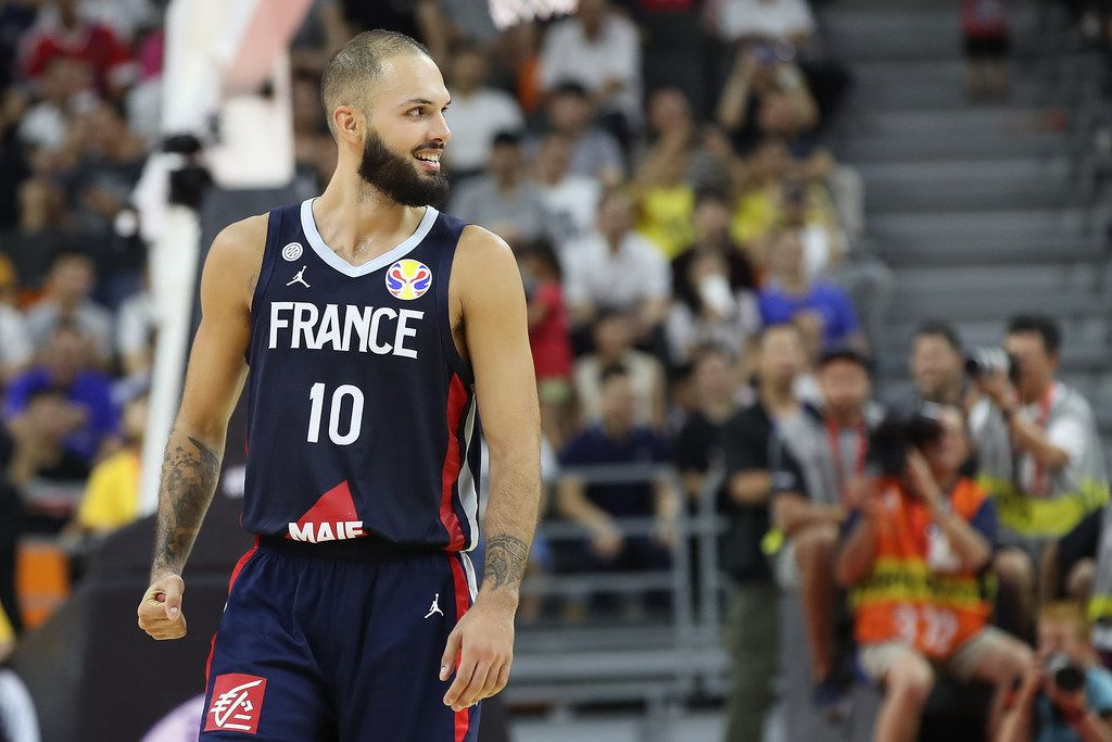 DONGGUAN, CHINA - SEPTEMBER 11:  Evan Fournier #10 of France celebrate after their team's win against USA during FIBA World Cup 2019 Quarter-finals match between USA and France at Dongguan Basketball Center on September 11, 2019 in Dongguan, China.