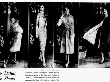 Snip from The Dallas Morning News, October 15, 1957 article, 'France Moves into Dallas for a series of style shows' by Gay Simpson.