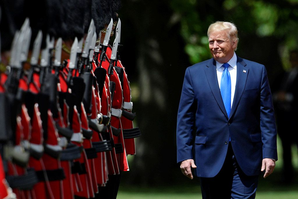President Donald Trump on Monday suggested a boycott of Dallas-based AT&T over its cable network CNN. He floated the idea while on a state visit to the United Kingdom.  (Photo by Toby Melville - WPA Pool/Getty Images)