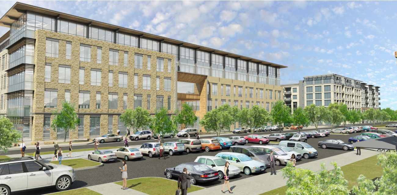 The planned office project at 3201 Olympus is in The Sound at Cypress Waters.