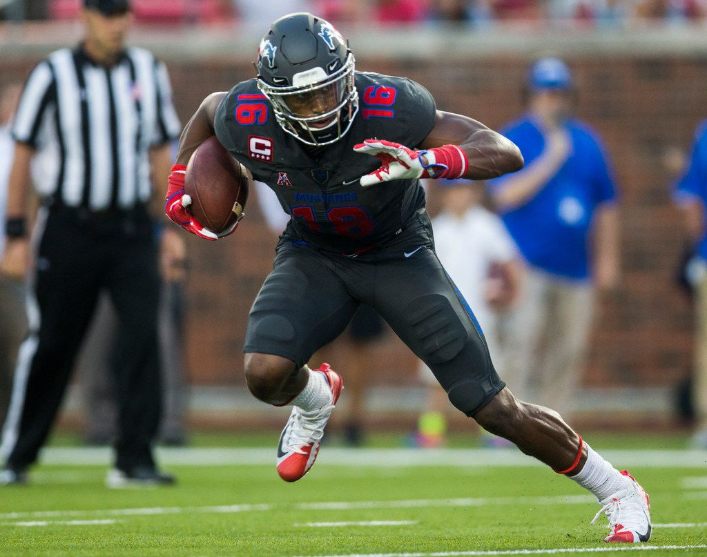 FILE - SMU Mustangs wide receiver Courtland Sutton (16) runs with the ball during the second quarter of a game against Arkansas State on Saturday, Sept. 23, 2017, at Ford Stadium on the SMU campus in Dallas. (Ashley Landis/The Dallas Morning News)