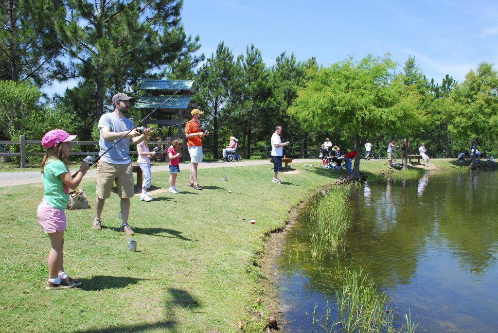 Children and adults alike can catch fish at the Texas Freshwater Fisheries Center near Athens.