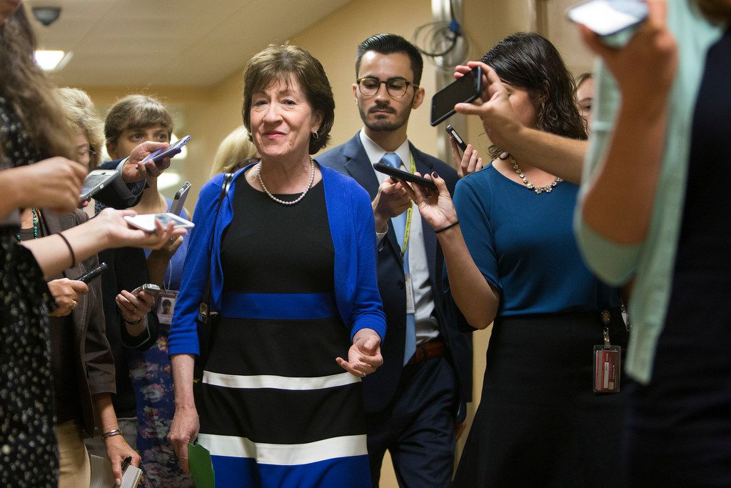 FILE -- Sen. Susan Collins (R-Maine) on Capitol Hill, in Washington, Sept. 18, 2017.  Collins has expressed broad concerns about the Republican proposal to repeal the Affordable Care Act, strongly suggesting that she, like Sen. John McCain (R-Ariz.), would vote against it. (Tom Brenner/The New York Times)