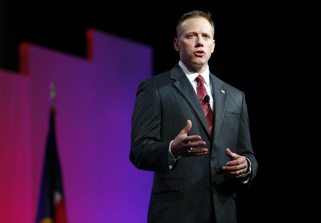 Texas Railroad Commissioner Ryan Sitton addressed the 2016 Texas Republican Convention in Dallas. (Vernon Bryant/Staff Photographer)