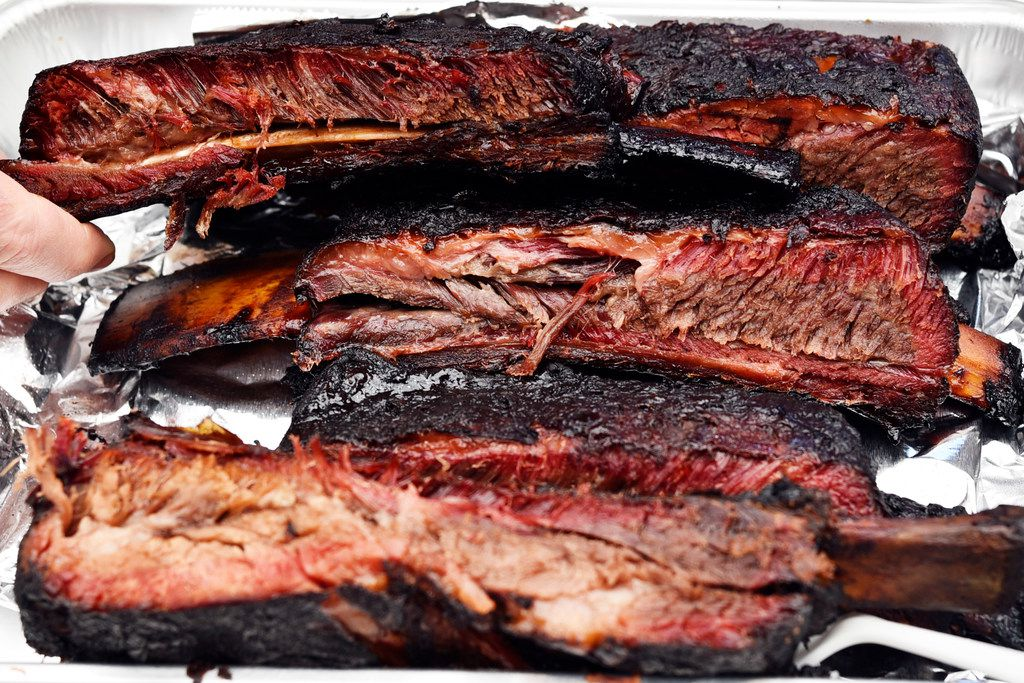 Beef rib cooked for the Dallas Kosher BBQ championship
