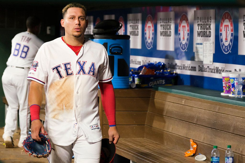 Texas Rangers third baseman Asdrubal Cabrera  heads to the clubhouse after a 8-5 loss to the Seattle Mariners at Globe Life Park on Tuesday, July 30, 2019, in Arlington. (Smiley N. Pool/The Dallas Morning News)