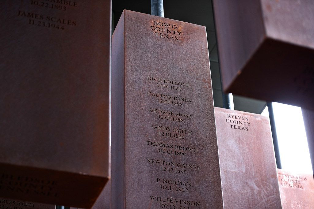 This photo shows part of the display at the National Memorial for Peace and Justice, a new memorial to honor thousands of people killed in racist lynchings, Monday, April 23, 2018, in Montgomery, Ala. The national memorial aims to teach about America's past in hope of promoting understanding and healing. It's scheduled to open on Thursday.