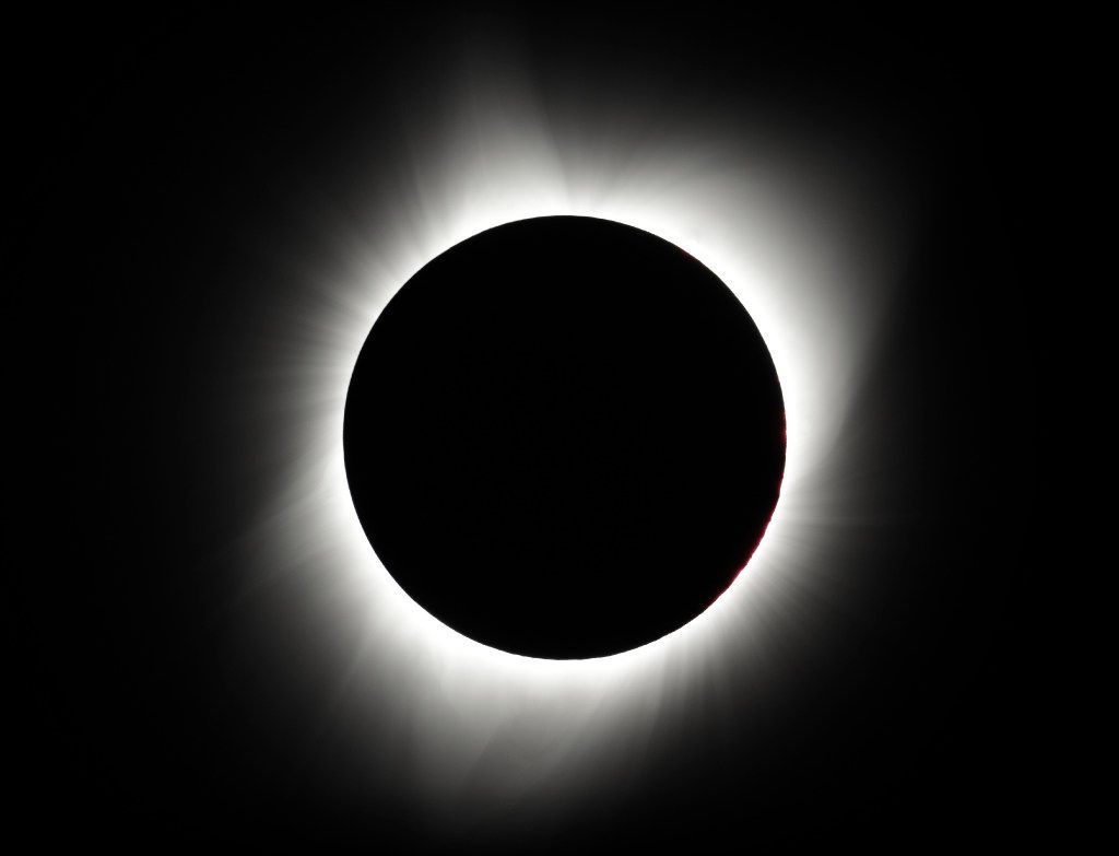 The moon covers the sun during a total eclipse near Redmond, Ore.