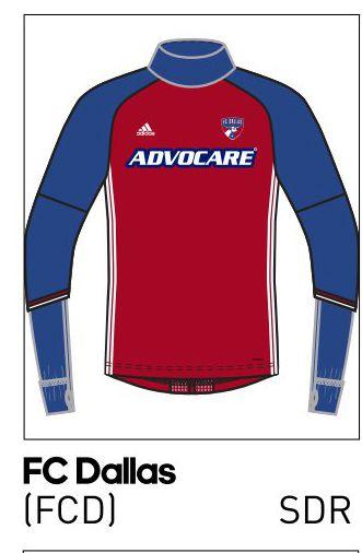 2016 FC Dallas long sleeve training top.