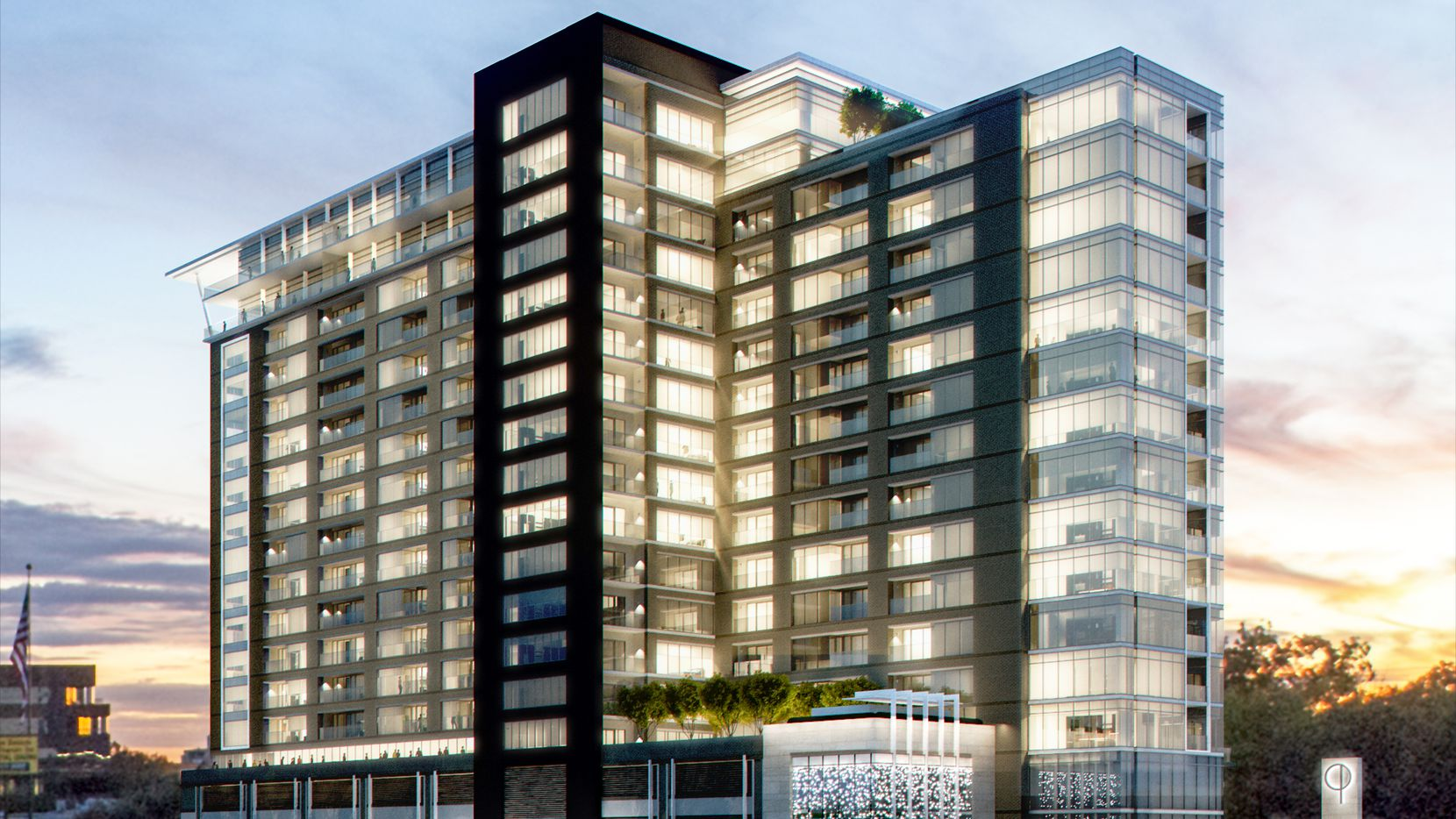 Southern Land's new apartment tower project is on North Central Expressway.