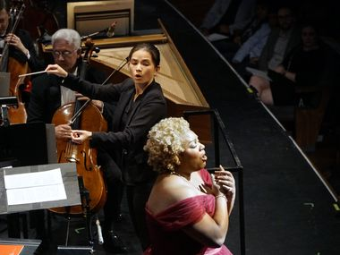 Molly Turner conducts the Dallas Opera Orchestra along with mezzo-soprano Raehann Bryce-Davis during the Dallas Opera Hart Institute for Women Conductors showcase concert at the Winspear Opera House in Dallas, Texas on Saturday, November 9, 2019. (Lawrence Jenkins/Special Contributor)