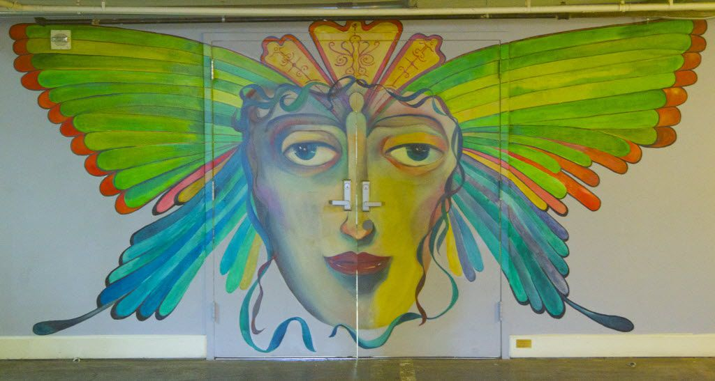 Cuban-American artist Rolando Diaz created a butterfly mural for the entrance of SPARK! Adventures in Creativity, located in the sub-basement of South Side on Lamar in Dallas.