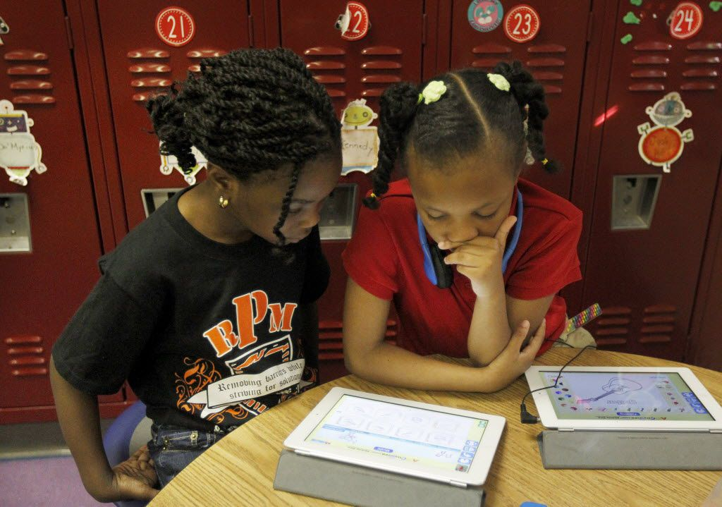 Kindergarten students at Rosa Parks-Millbrook Elementary School in Lancaster worked with lessons on their NOOK.
