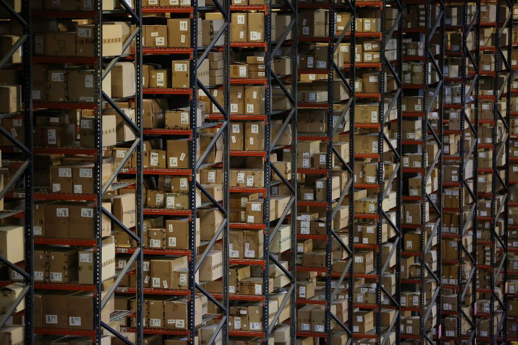 The view inside The Apparel Group Ltd. distribution center in Lewisville, Texas Thursday August 10, 2017. According to The Apparel Group Ltd., one sixth of the men's button down shirts distributed in the United States are processed through this building. . (Andy Jacobsohn/The Dallas Morning News)