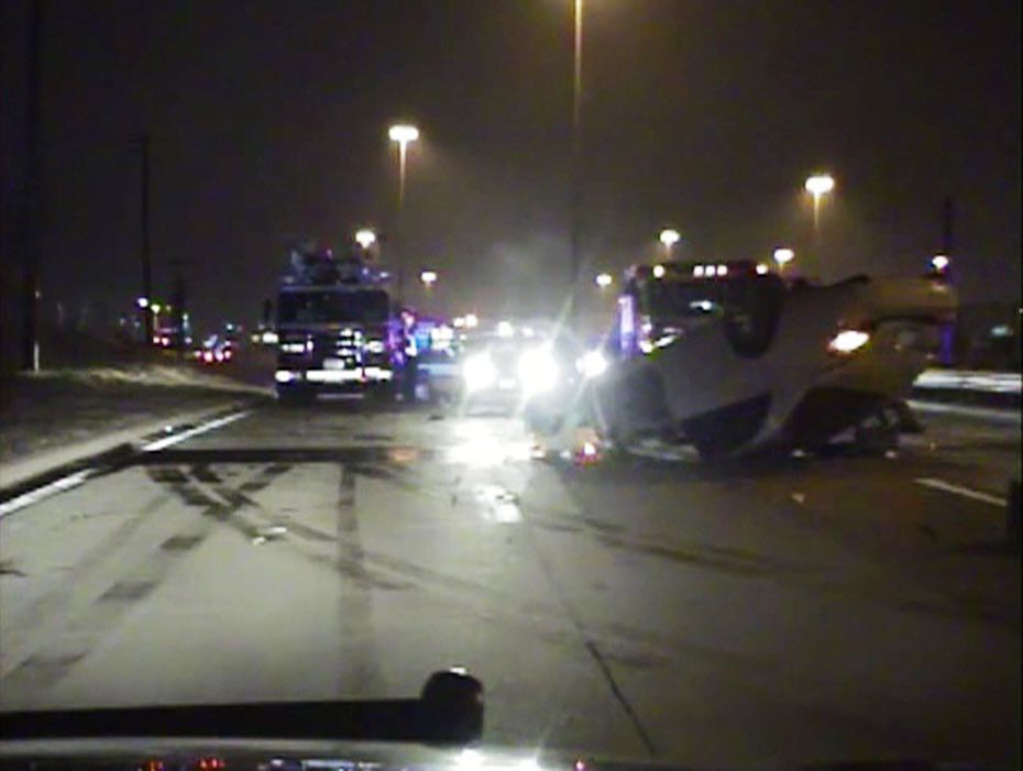 A police dash cam captured the crash scene after Josh Brent flipped his Mercedes in Irving in December 2012.