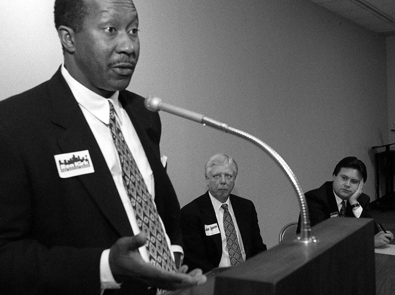 On March 18. 1995, Ron Kirk, Darrell Jordan and, at right, Domingo Garcia went to the First Presbyterian Church in downtown Dallas to make the case they were the best person to be mayor.