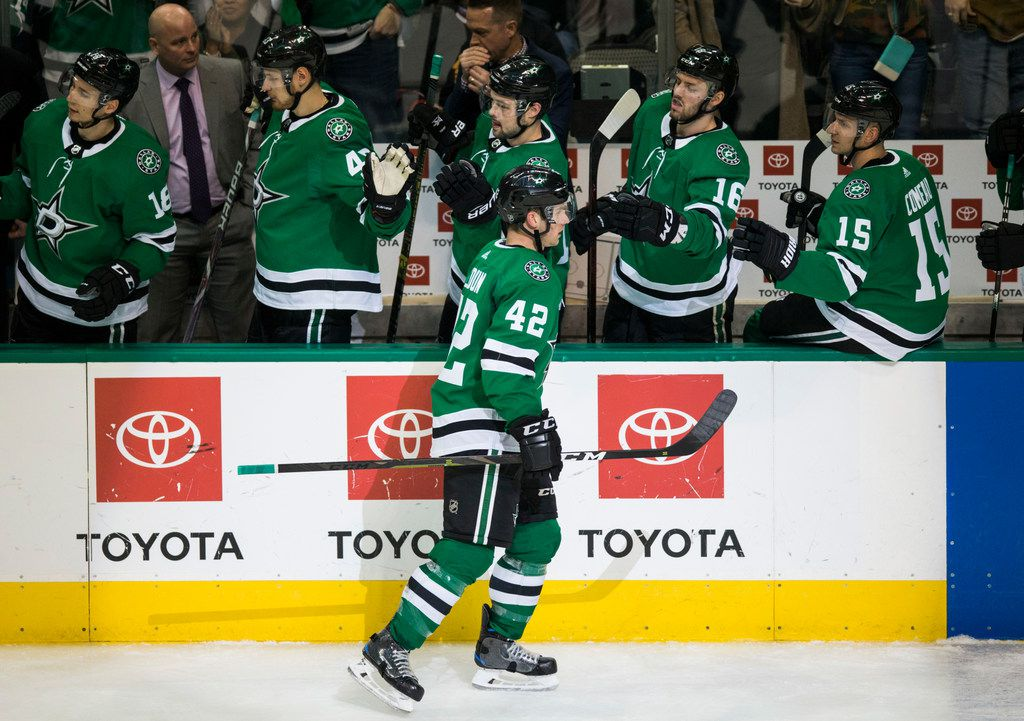 Dallas Stars defenseman Taylor Fedun (42) celebrates after scoring a goal during the third period of an NHL game between the Dallas Stars and the Chicago Blackhawks on Thursday, December 20, 2018 at American Airlines Center in Dallas. (Ashley Landis/The Dallas Morning News)