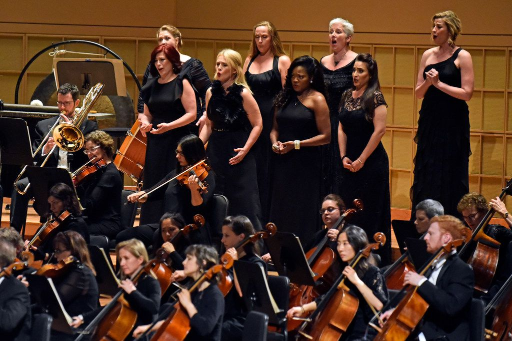 Eight Valkyries perform in Richard Wagner's Die Walküre in a concert performance with Jaap van Zweden and the Dallas Symphony Orchestra on May 18, 2018 at the Morton H. Meyerson Symphony Center in Dallas.
