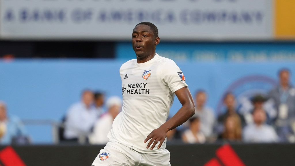 FC Cincinnati forward Fanendo Adi moves the ball up the pitch during the first half of an MLS soccer match against New York City FC, Thursday, June 6, 2019, in New York. New York City FC won 5-2. (AP Photo/Steve Luciano)