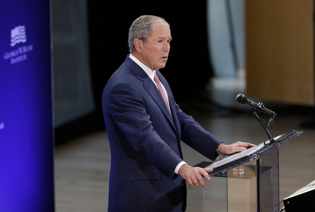 Former U.S. President George W. Bush speaks at a forum sponsored by the George W. Bush Institute in New York, Thursday, Oct. 19, 2017.