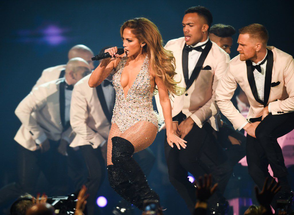 Jennifer Lopez performs onstage during the 61st annual Grammy Awards on Feb. 10, 2019, in Los Angeles.