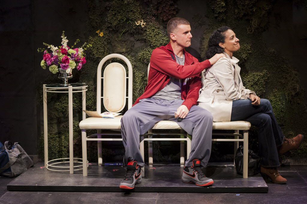 Armando Riesco and Zabryna Guevara in the Pulitzer Prize-winning play by Quiara Alegria Hudes,  Water by the Spoonful,  at the Second Stage Theatre in New York in 2012.