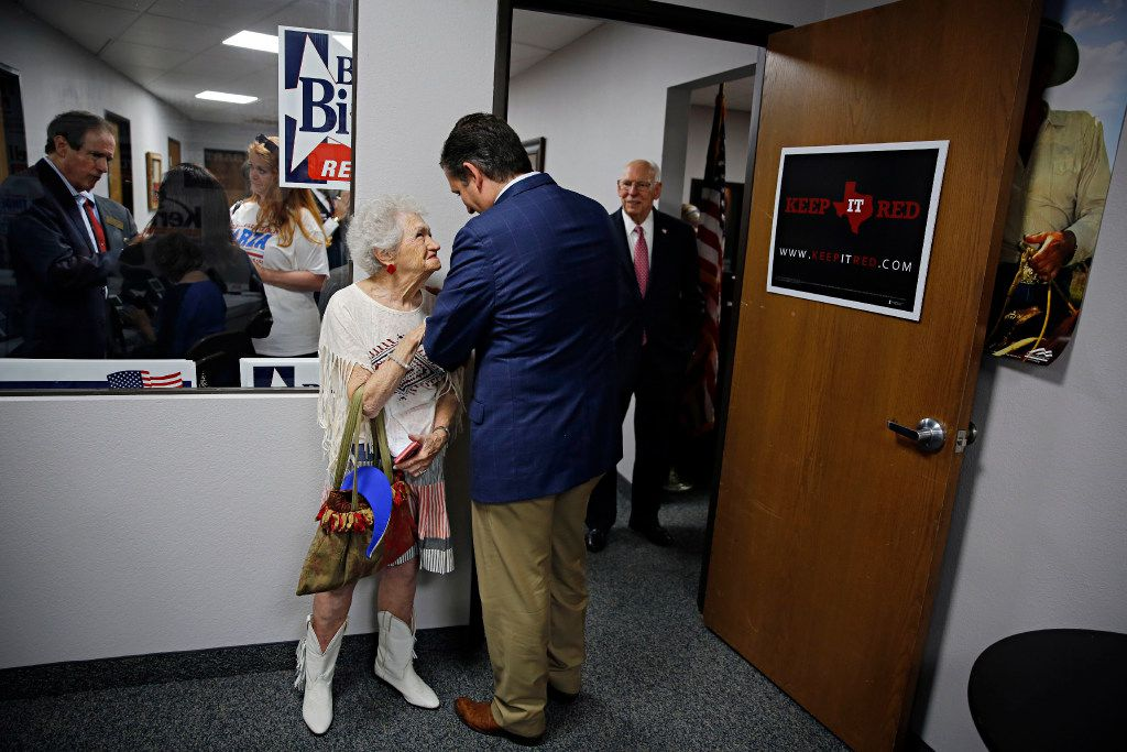 Pat Williford (left) smiles as she talks to Sen. Ted Cruz at Tarrant County Republican Party headquarters Wednesday, October 5, 2016 in Fort Worth. A conservative group sent a letter on Sunday to the TCRP president, asking him to remove its vice chair -- Dr. Shahid Shafi -- because he's Muslim.