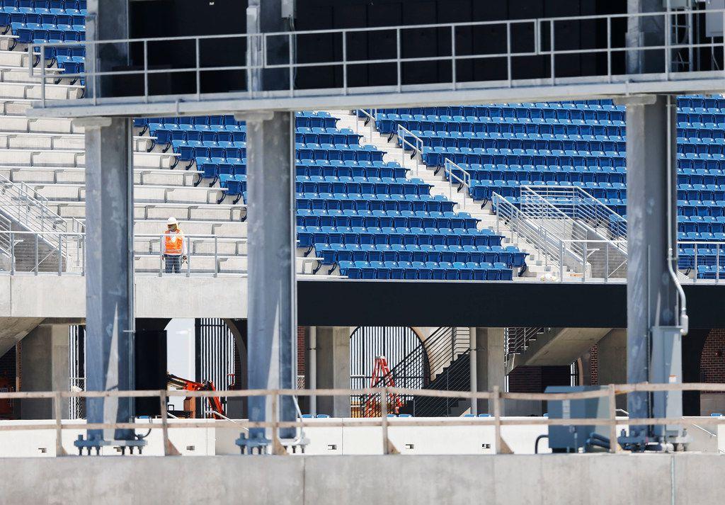 Construction continued Friday at McKinney ISD Stadium. (Vernon Bryant/Staff Photographer)