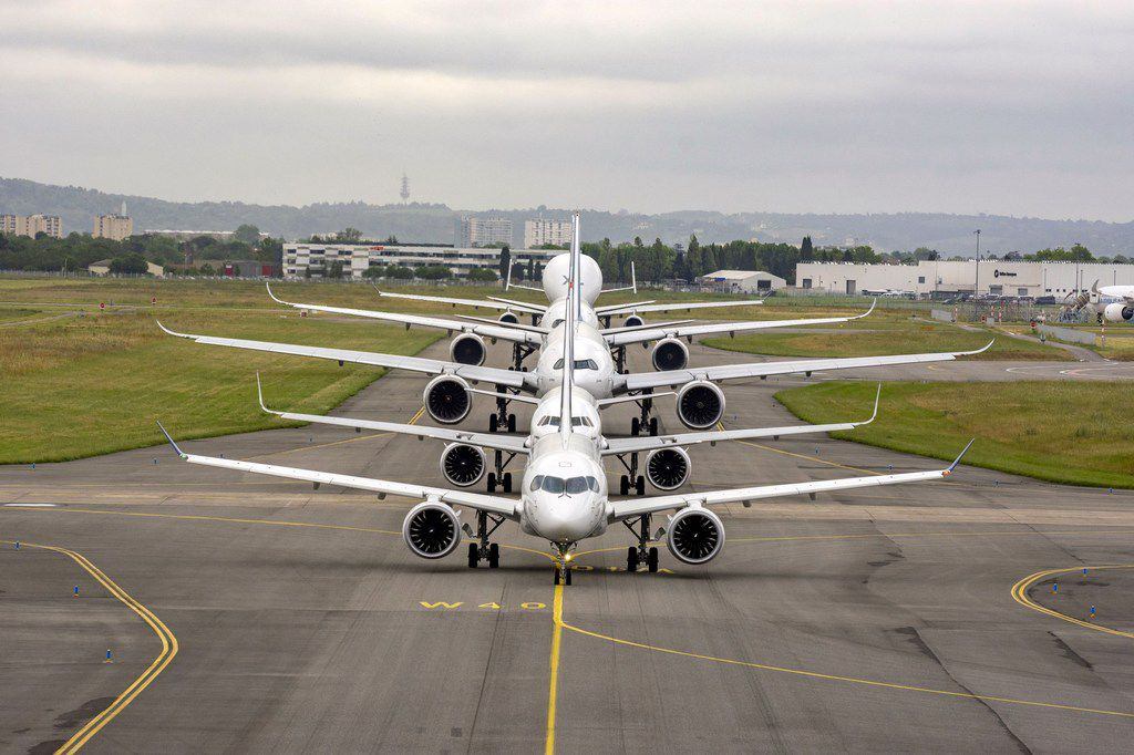 Airbus commercial aircraft line up on the tarmac in Toulouse as the company is celebrating its 50th anniversary.