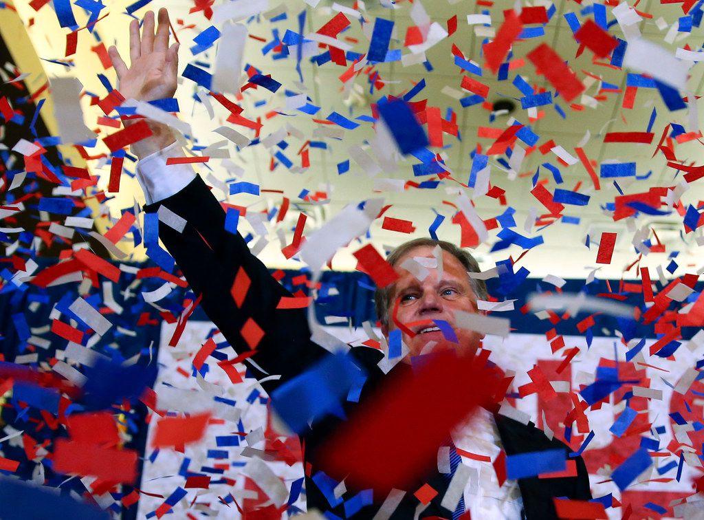 Democrat Doug Jones celebrated his victory Tuesday night in Birmingham, Ala. (John Bazemore/The Associated Press)