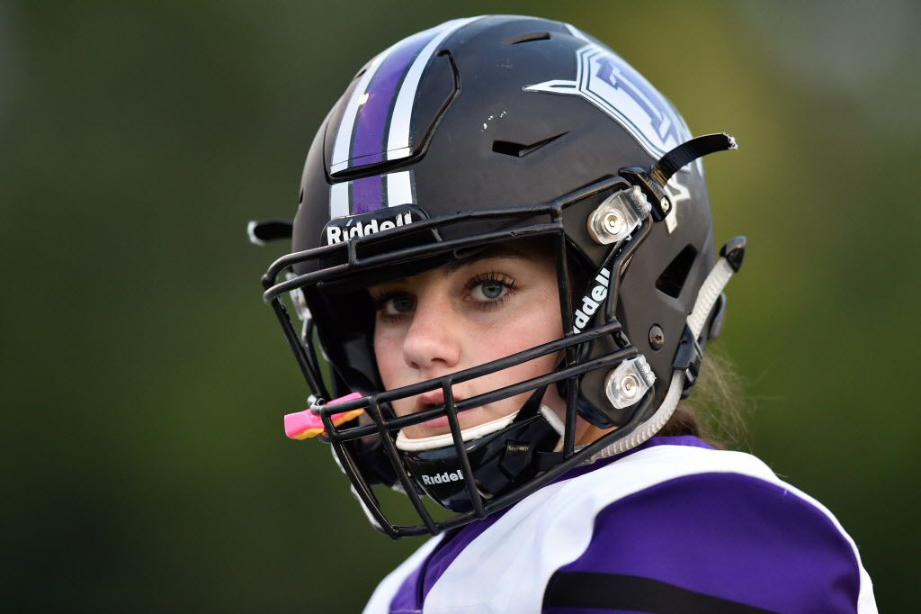 Independence kicker Brooke Cohen (99) watches her team play against opponent, Denton, at Bronco Field.