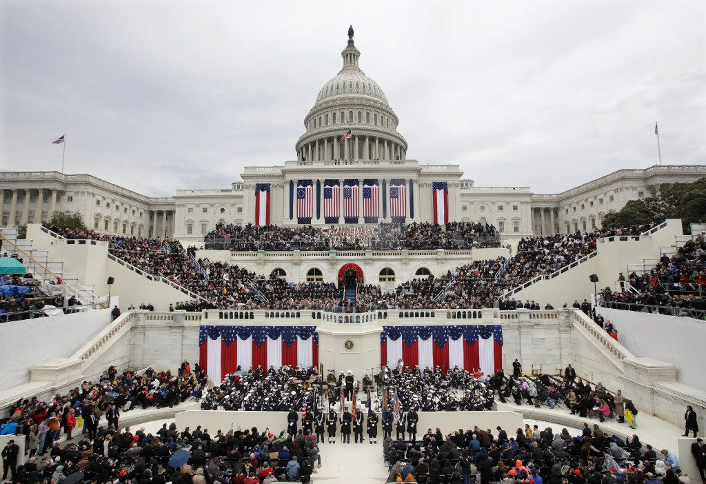 In this Jan. 20, 2017, file photo, President Donald Trump delivers his inaugural address after being sworn in as the 45th president of the United States during the 58th Presidential Inauguration at the U.S. Capitol in Washington. (AP Photo/Patrick Semansky, File)