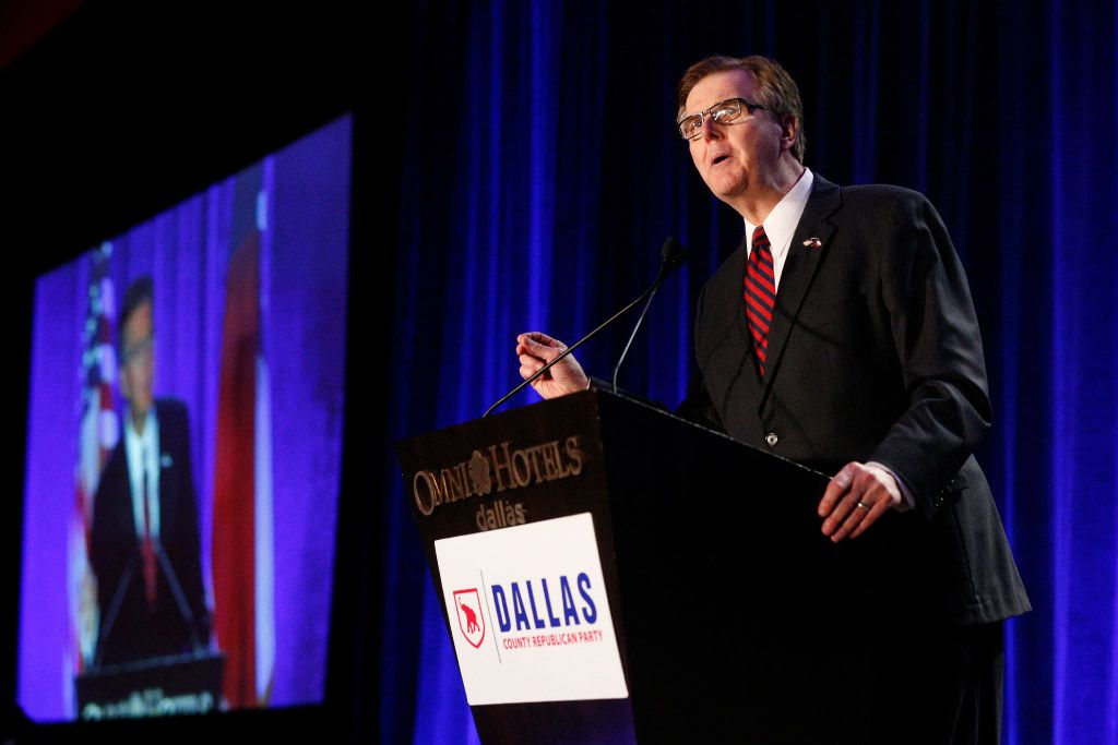 Lieutenant Governor Dan Patrick speaks during the Dallas County Republican Party's Reagan Day Dinner at the Omni Dallas Hotel in Dallas on March 11, 2017. (Nathan Hunsinger/The Dallas Morning News)