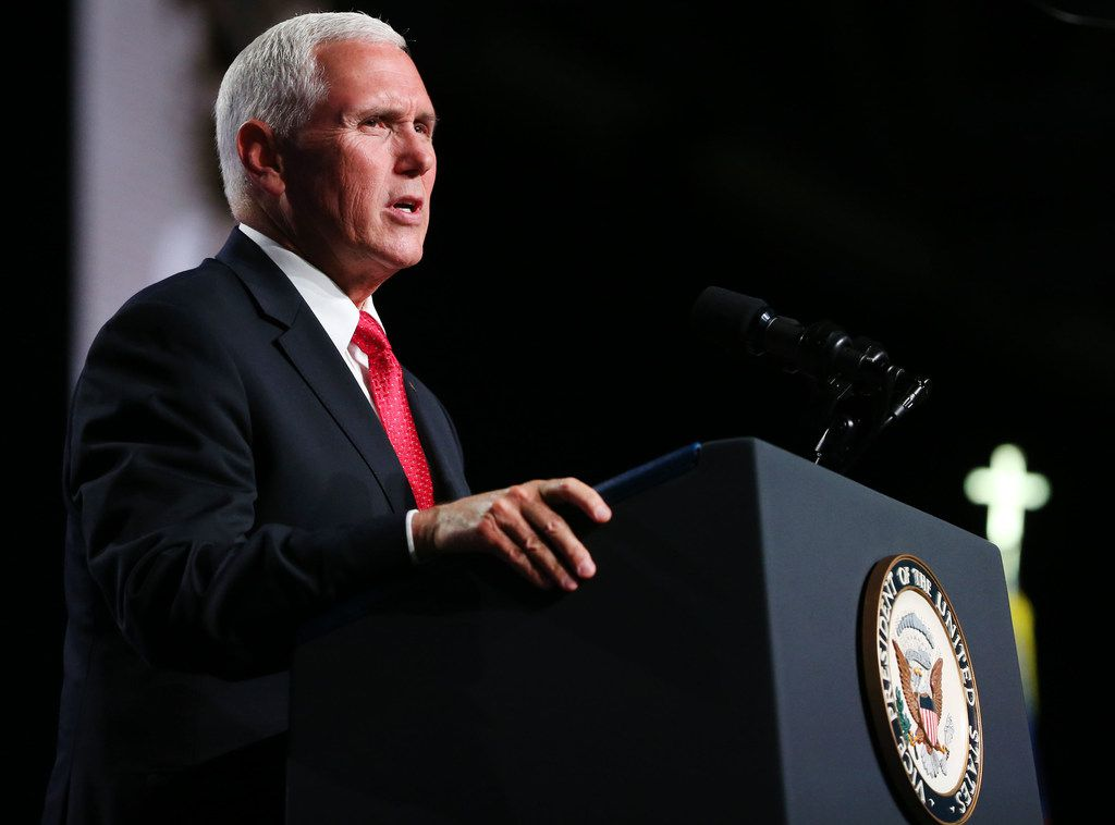 Vice President Mike Pence speaks at the 2018 Annual Meeting of the Southern Baptist Convention at the Kay Bailey Hutchison Convention Center in Dallas on June 13, 2018.