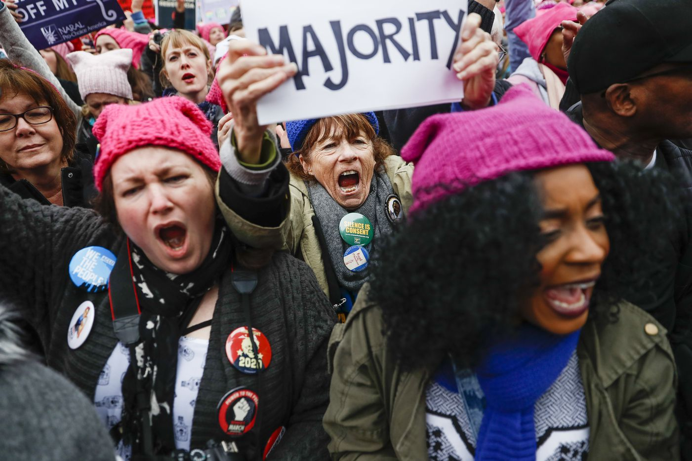 Protesters cheer at the Women's March on Washington during the first full day of Donald Trump's presidency, Saturday, Jan. 21, 2017 in Washington. Organizers of the Women's March on Washington expect more than 200,000 people to attend the gathering. Other protests are expected in other U.S. cities.