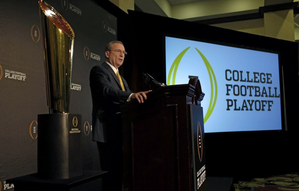 The College Football Playoff committee chairman  Jeff Long talks to reporters about the announcement for the playoff semifinal pairings and semifinal bowl assignments at the Gaylord Texan Resort & Convention Center in Grapevine, Tx on Dec. 7, 2014. (Nathan Hunsinger/The Dallas Morning News)
