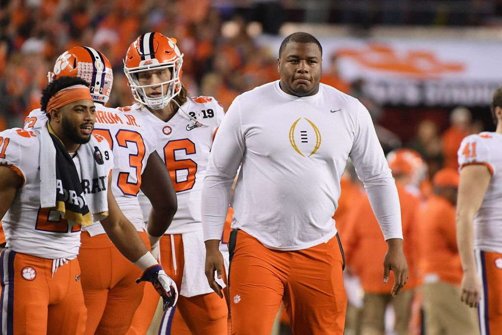 SANTA CLARA, CA - JANUARY 07:  Dexter Lawrence of the Clemson Tigers looks on from the sideline during the second quarter against the Alabama Crimson Tide in the CFP National Championship presented by AT&T at Levi's Stadium on January 7, 2019 in Santa Clara, California.  (Photo by Harry How/Getty Images)