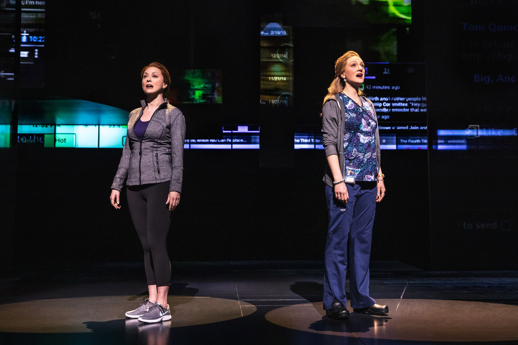 "Claire Rankin (left) and Jessica E. Sherman in the national touring production of the Tony-winning musical ""Dear Evan Hansen."""