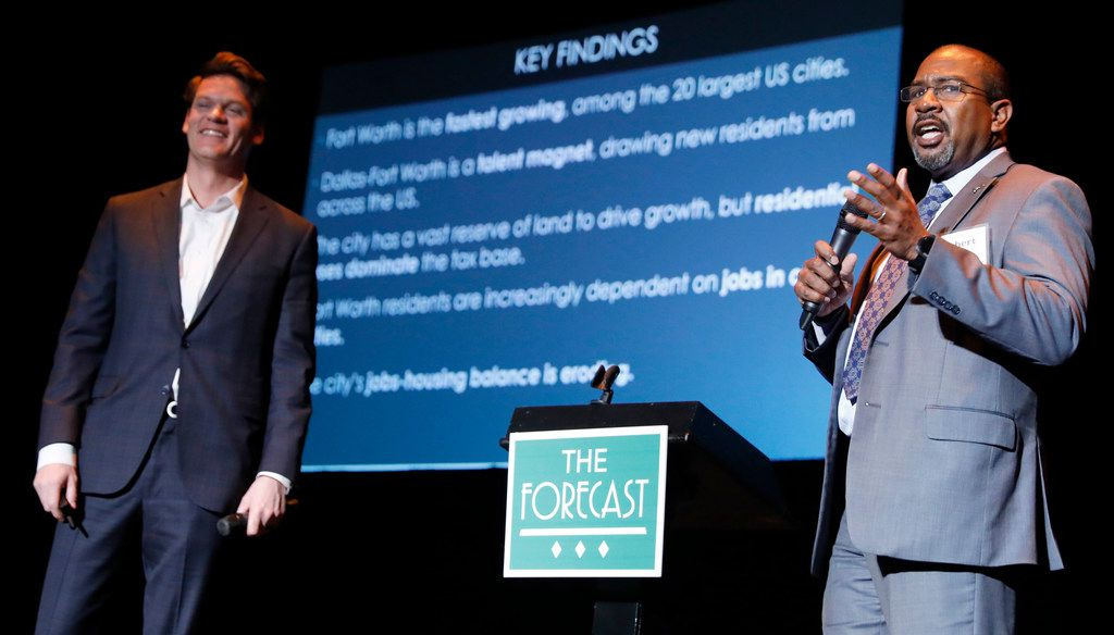Brandom Gengelbach (left), executive vice president of economic development for the Fort Worth Chamber of Commerce, and Robert Sturns, director of economic development for the city of Fort Worth, were among speakers taking part in the 2018 Tarrant County Commercial Real Estate Forecast in January.