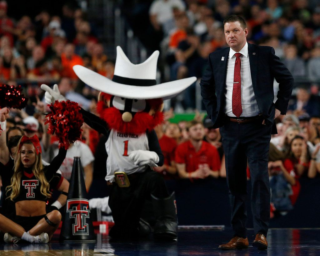 Texas Tech Red Raiders head coach Chris Beard looks on in a game against the Michigan State Spartans during the first half of play in the semifinals of the Final Four NCAA college basketball tournament at U.S. Bank Stadium in Minneapolis on Saturday, April 6, 2019. (Vernon Bryant/The Dallas Morning News)