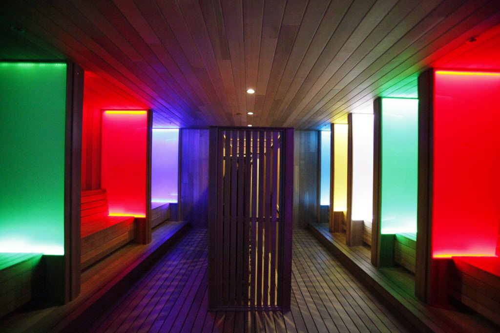 A colorful steam room at Spa Castle hotel and resort, on Wednesday, Feb. 19, 2014 in Carrollton.