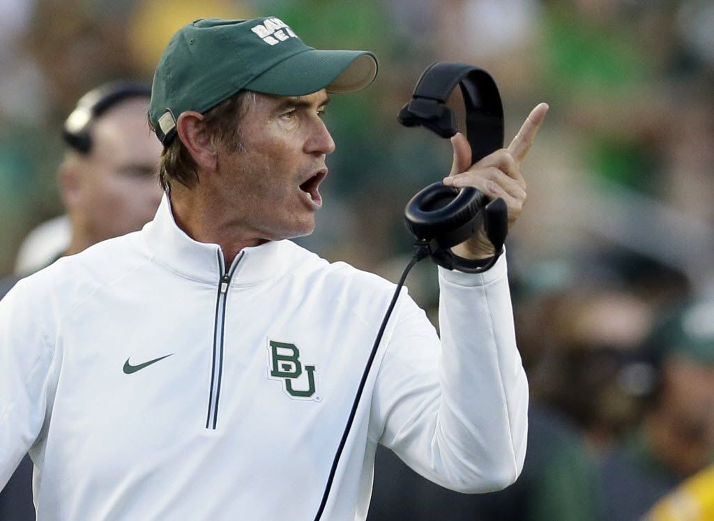 FILE - In this Sept. 12, 2015, file photo, then-Baylor coach Art Briles yells from the sideline during the first half of an NCAA college football game against Lamar in Waco. (AP Photo/LM Otero, File)