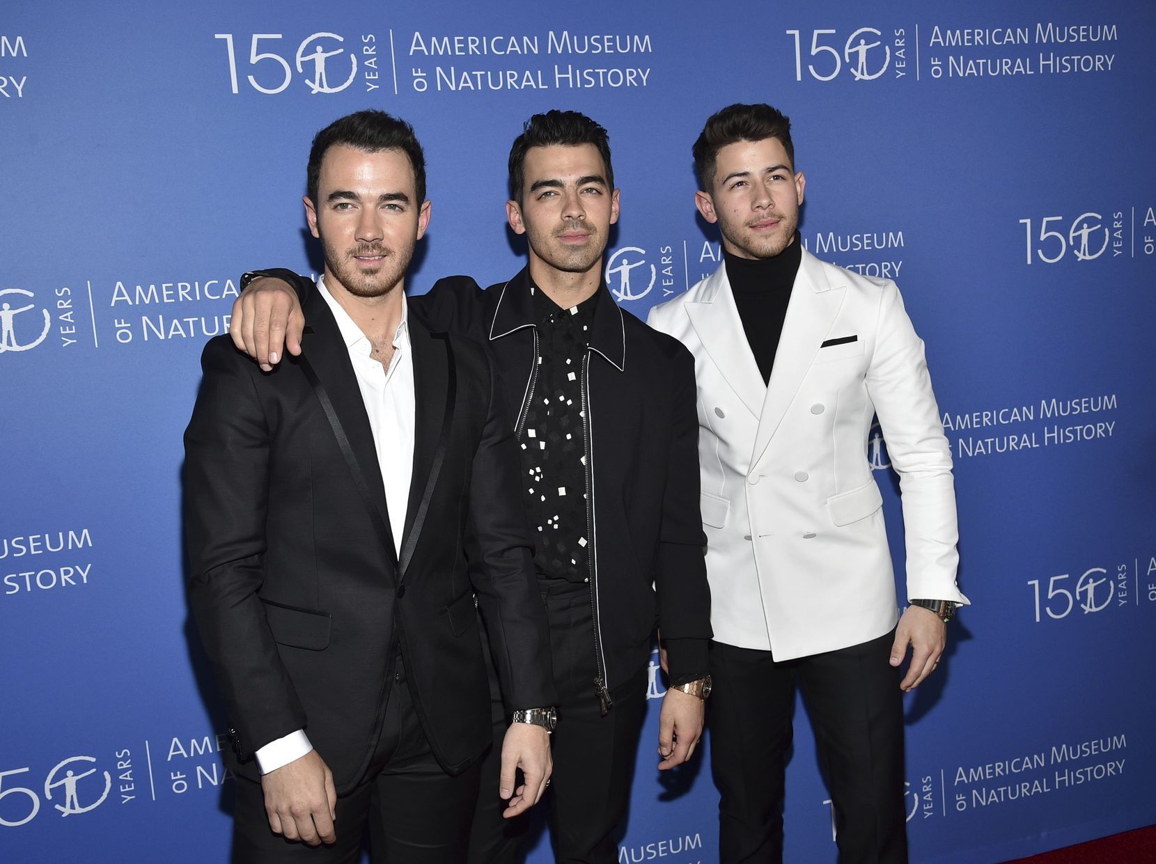 The Jonas Brothers, from left, Kevin Jonas, Joe Jonas and Nick Jonas attend the American Museum of Natural History's 2019 Museum Gala on Thursday, Nov. 21, 2019, in New York.