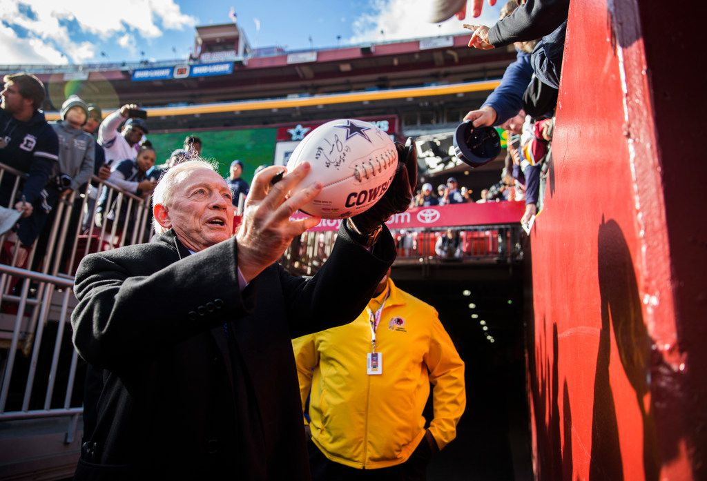 Dallas Cowboys owner Jerry Jones signs autographs for fans before an NFL game between the Washington Redskins and the Dallas Cowboys on Sunday, October 21, 2018 in Landover, Maryland. (Ashley Landis/The Dallas Morning News)