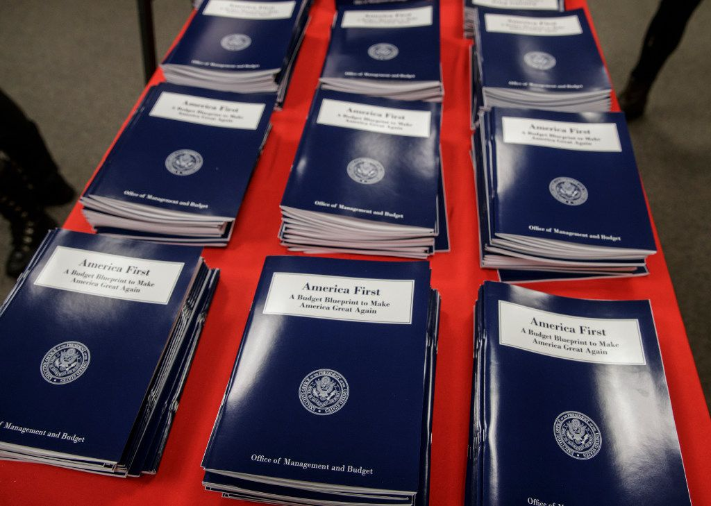 President Donald Trump's first budget proposes making a $4.1 billion down payment on a U.S.-Mexico border wall.   (J. Scott Applewhite/The Associated Press)