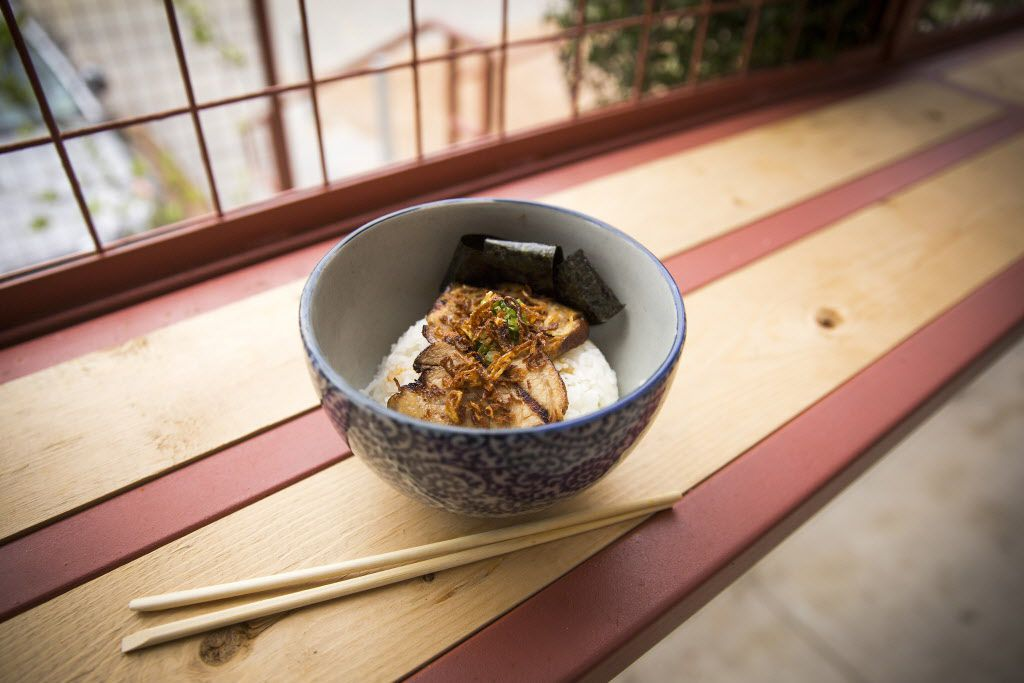 Chashudon -- rice with grilled chashu, scallions and fried shallots