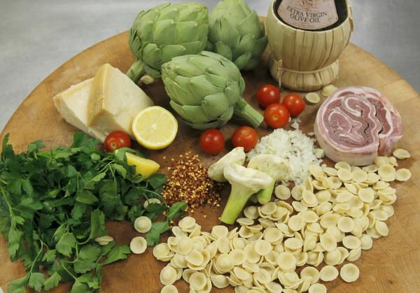 The ingredient list for Orecchiette Pasta With Artichokes includes pancetta, onion, lemon, red pepper flakes, Romano and parsley.